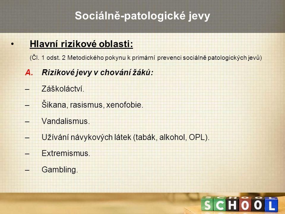 Sociálně-patologické jevy Hlavní rizikové oblasti: (Čl. 1 odst. 2 Metodického pokynu k primární prevenci sociálně patologických jevů) A.Rizikové jevy
