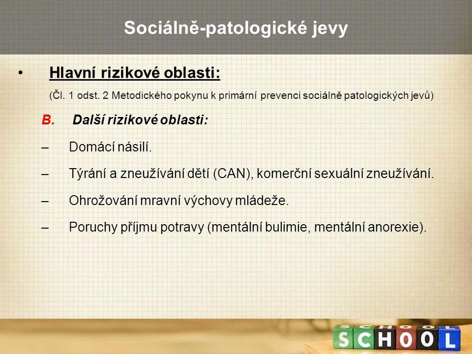 Sociálně-patologické jevy Hlavní rizikové oblasti: (Čl. 1 odst. 2 Metodického pokynu k primární prevenci sociálně patologických jevů) B. Další rizikov