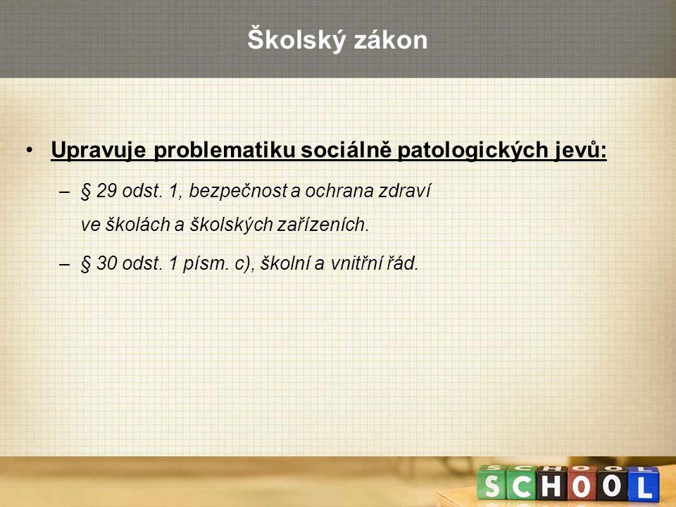 Školský zákon Upravuje problematiku sociálně patologických jevů: –§ 29 odst. 1, bezpečnost a ochrana zdraví ve školách a školských zařízeních. –§ 30 o