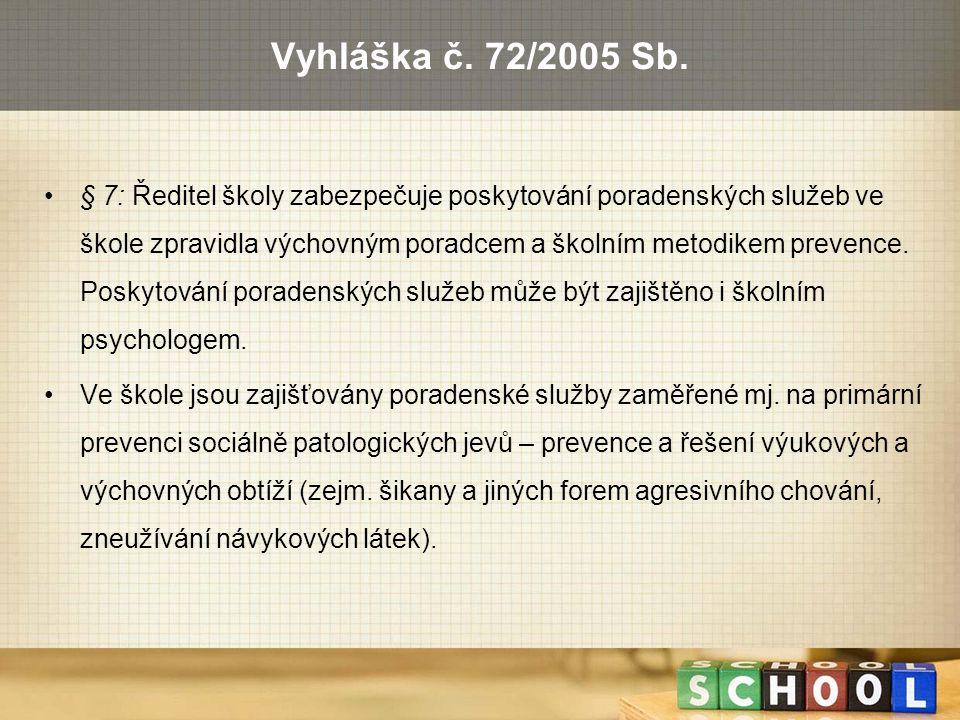 Vyhláška č. 72/2005 Sb. § 7: Ředitel školy zabezpečuje poskytování poradenských služeb ve škole zpravidla výchovným poradcem a školním metodikem preve