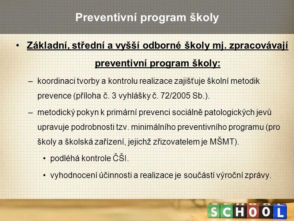 Preventivní program školy Základní, střední a vyšší odborné školy mj. zpracovávají preventivní program školy: –koordinaci tvorby a kontrolu realizace
