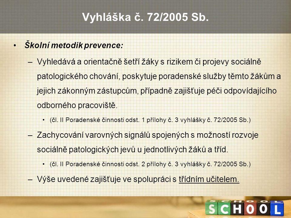 Vyhláška č. 72/2005 Sb. Školní metodik prevence: –Vyhledává a orientačně šetří žáky s rizikem či projevy sociálně patologického chování, poskytuje por