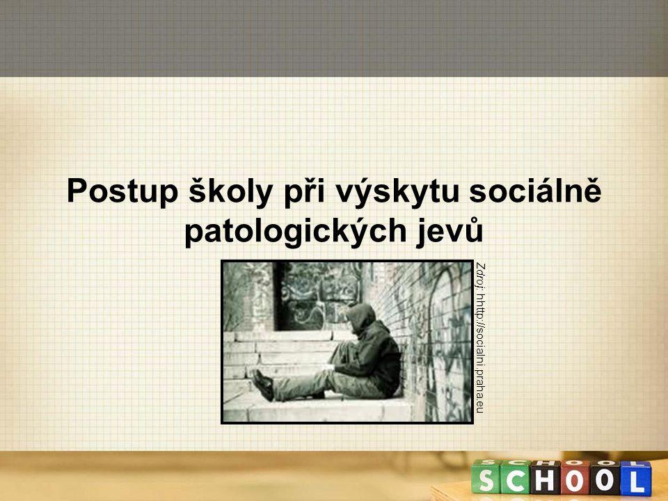 Postup školy při výskytu sociálně patologických jevů Zdroj: hhttp://socialni.praha.eu