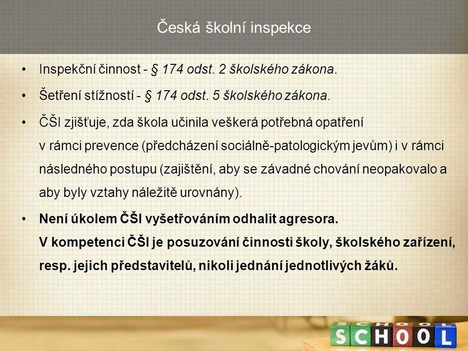 Česká školní inspekce Inspekční činnost - § 174 odst. 2 školského zákona. Šetření stížností - § 174 odst. 5 školského zákona. ČŠI zjišťuje, zda škola