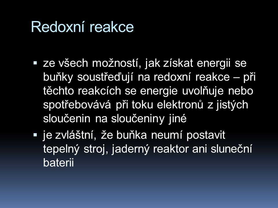 Redoxní reakce  U mnoha chemických reakcí dochází k přenosu elektronů (e - ) z jednoho reaktantu na druhý  tyto reakce se nazývají oxidačně - redukční reakce, neboli redoxní reakce.