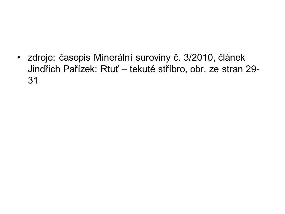 zdroje: časopis Minerální suroviny č. 3/2010, článek Jindřich Pařízek: Rtuť – tekuté stříbro, obr.
