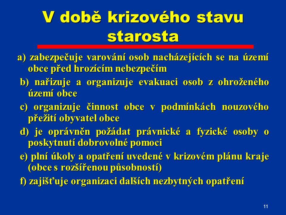 11 V době krizového stavu starosta a) zabezpečuje varování osob nacházejících se na území obce před hrozícím nebezpečím b) nařizuje a organizuje evaku