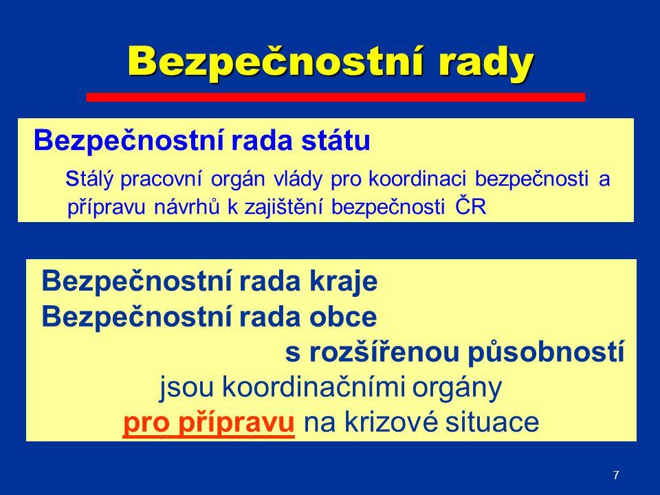 7 Bezpečnostní rady Bezpečnostní rada kraje Bezpečnostní rada obce s rozšířenou působností jsou koordinačními orgány pro přípravu na krizové situace Bezpečnostní rada státu s tálý pracovní orgán vlády pro koordinaci bezpečnosti a přípravu návrhů k zajištění bezpečnosti ČR
