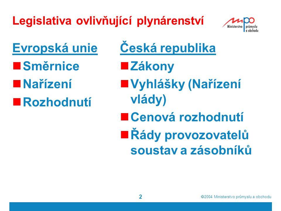  2004  Ministerstvo průmyslu a obchodu 13 Počet zákazníků, kteří změnili dodavatele v % od počátku otevírání trhu do 31.12.2005 státVOMO+DstátVOMO+D Rakousko90,5 Portugalsko -- Belgie604Španělsko>505 Dánsko30-Švédsko-- Estonsko20- Velká Británie >5047 Francie25-Česká rep.- Německo7< 2Litva-- Irsko>50-Polsko-- Itálie3035Slovensko-- Lucembursko < 5-Maďarsko-- Nizozemí302Slovinsko--