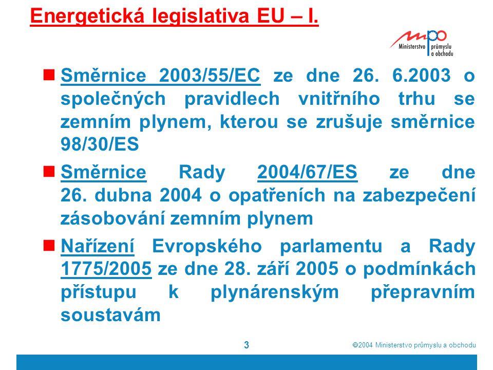  2004  Ministerstvo průmyslu a obchodu 14 Otevírání trhu s plynem v EU Směrnice 98/30/EC – nepočítala s povinným úplným otevřením trhu (maximální číslo bylo 33%) povinné otevírání od 10.8.
