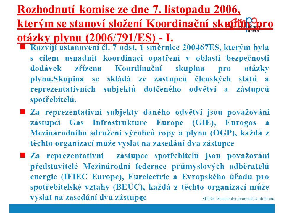  2004  Ministerstvo průmyslu a obchodu 26 Situace na trhu s plynem 2006 – IV.