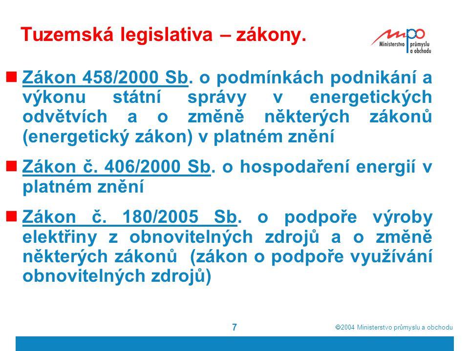  2004  Ministerstvo průmyslu a obchodu 28 Temata, která budou při budoucích úpravách EZ diskutována Přístup k podzemním zásobníkům plynu Způsob úhrady plynovodních přípojek a přeložek plynárenských zařízení Možnost rozšíření dodávky poslední instance na všechny konečné zákazníky Existence strategických rezev plynu