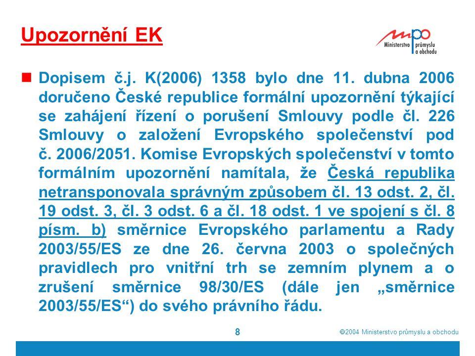  2004  Ministerstvo průmyslu a obchodu 19 Bezpečnost a spolehlivost dodávek plynu EU je závislá na dovozech zemního plynu a to pouze z omezeného množství zdrojů (Ruská federace, Norské království, Alžírsko), které jsou v převážné míře pod kontrolou tamních vlád EU se snaží nalézt řešení jak zmenšit rizika s tím spojená (Energetické dialogy s producentskými státy, podpora nových projektů v plynárenské infrastruktuře, alternativní zdroje energie, renesance jaderné energetiky) Prakticky každé vrcholné setkání politiků na světové či evropské úrovni mělo jako jeden ze základních bodů agendy problematiku bezpečnosti a spolehlivosti dodávek (zejména zemní plyn a ropa)