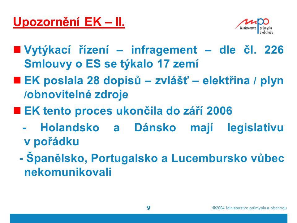  2004  Ministerstvo průmyslu a obchodu 10 K namítané nesprávné transpozici čl.
