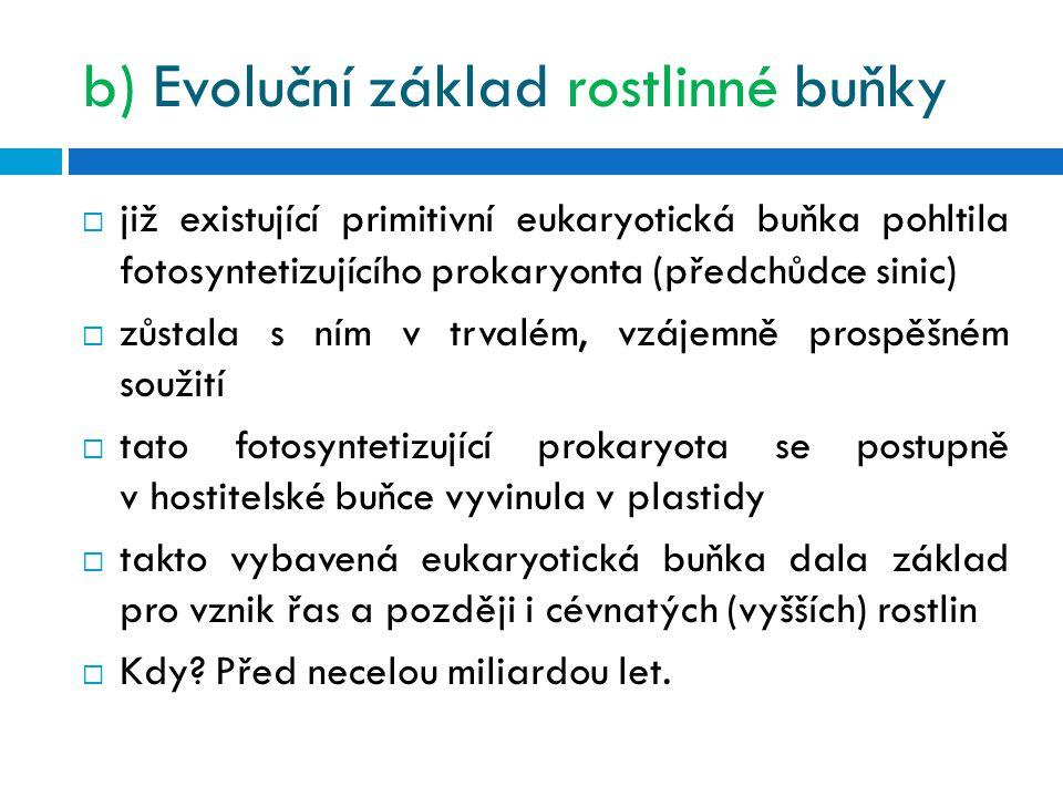 b) Evoluční základ rostlinné buňky  již existující primitivní eukaryotická buňka pohltila fotosyntetizujícího prokaryonta (předchůdce sinic)  zůstala s ním v trvalém, vzájemně prospěšném soužití  tato fotosyntetizující prokaryota se postupně v hostitelské buňce vyvinula v plastidy  takto vybavená eukaryotická buňka dala základ pro vznik řas a později i cévnatých (vyšších) rostlin  Kdy.