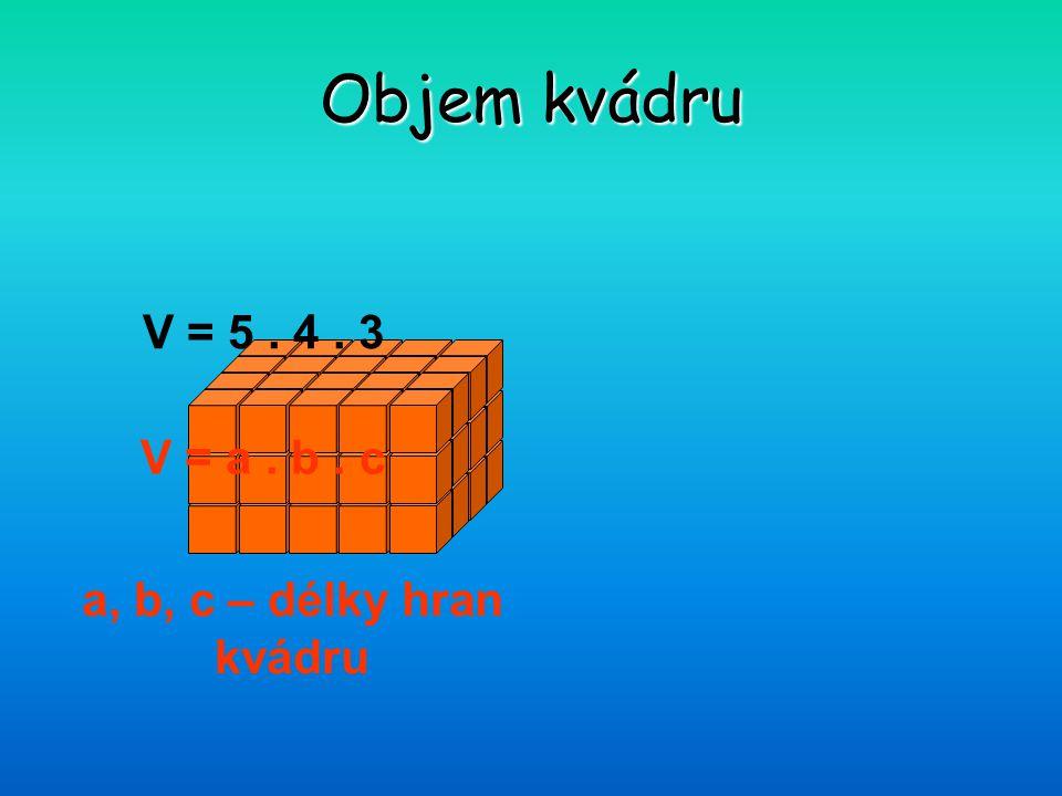 Objem kvádru V = 5. 4. 3 V = a. b. c a, b, c – délky hran kvádru