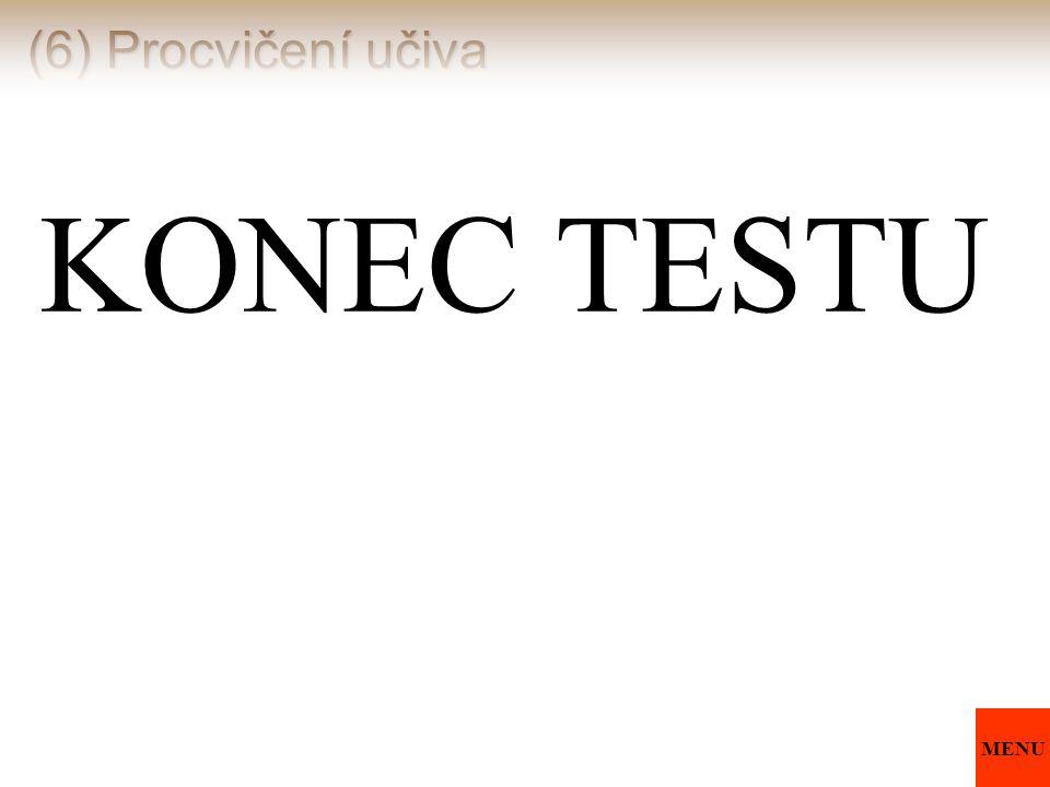 (6) Procvičení učiva KONEC TESTU MENU