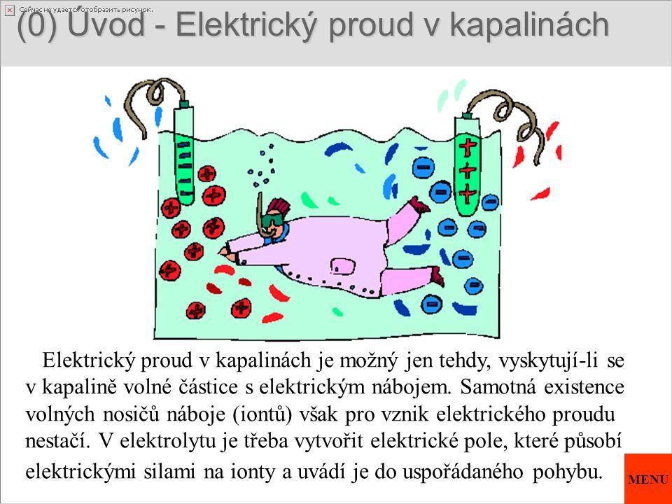 (0) Úvod - Elektrický proud v kapalinách (0) Úvod - Elektrický proud v kapalinách Elektrický proud v kapalinách je možný jen tehdy, vyskytují-li se v