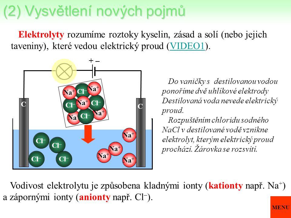 Elektrolyty rozumíme roztoky kyselin, zásad a solí (nebo jejich taveniny), které vedou elektrický proud (VIDEO1).VIDEO1 Do vaničky s destilovanou vodo