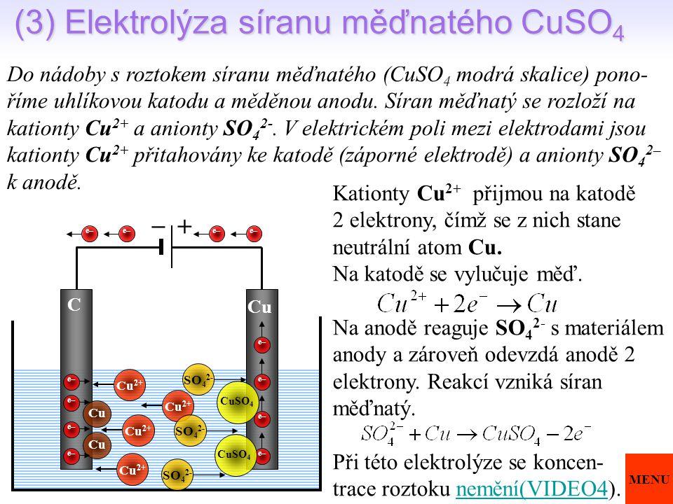(3) Elektrolýza síranu měďnatého CuSO 4 Do nádoby s roztokem síranu měďnatého (CuSO 4 modrá skalice) pono- říme uhlíkovou katodu a měděnou anodu. Síra