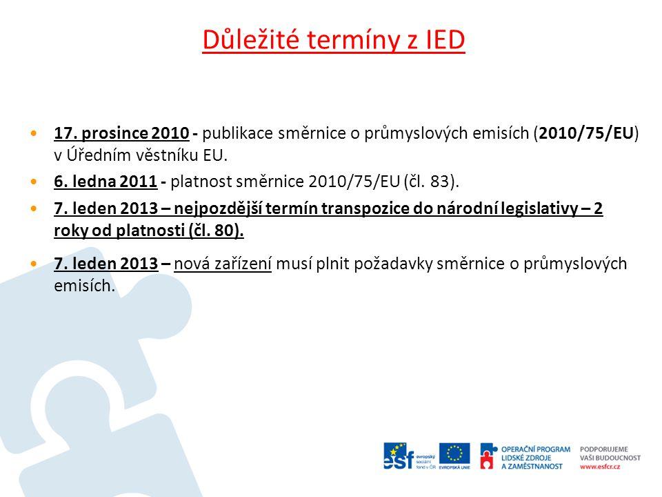 Důležité termíny z IED 7.