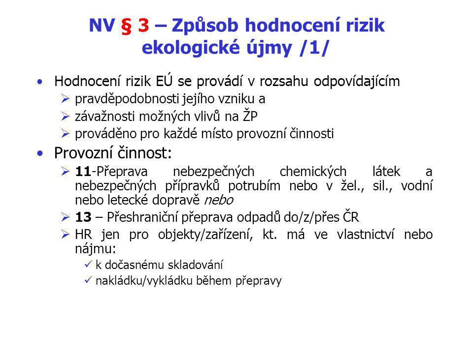 NV § 3 – Způsob hodnocení rizik ekologické újmy /1/ Hodnocení rizik EÚ se provádí v rozsahu odpovídajícím  pravděpodobnosti jejího vzniku a  závažnosti možných vlivů na ŽP  prováděno pro každé místo provozní činnosti Provozní činnost:  11-Přeprava nebezpečných chemických látek a nebezpečných přípravků potrubím nebo v žel., sil., vodní nebo letecké dopravě nebo  13 – Přeshraniční přeprava odpadů do/z/přes ČR  HR jen pro objekty/zařízení, kt.