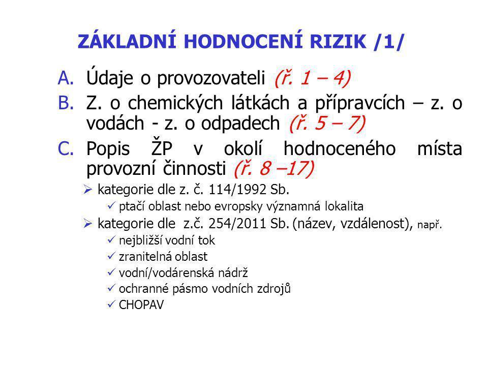 ZÁKLADNÍ HODNOCENÍ RIZIK /1/ A.Údaje o provozovateli (ř.