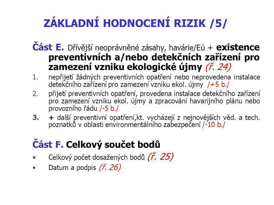 ZÁKLADNÍ HODNOCENÍ RIZIK /5/ Část E.
