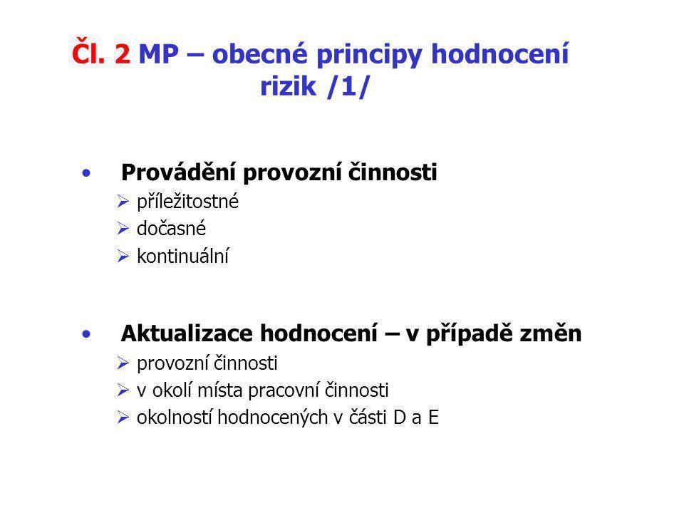 Čl. 2 MP – obecné principy hodnocení rizik /1/ Provádění provozní činnosti  příležitostné  dočasné  kontinuální Aktualizace hodnocení – v případě z
