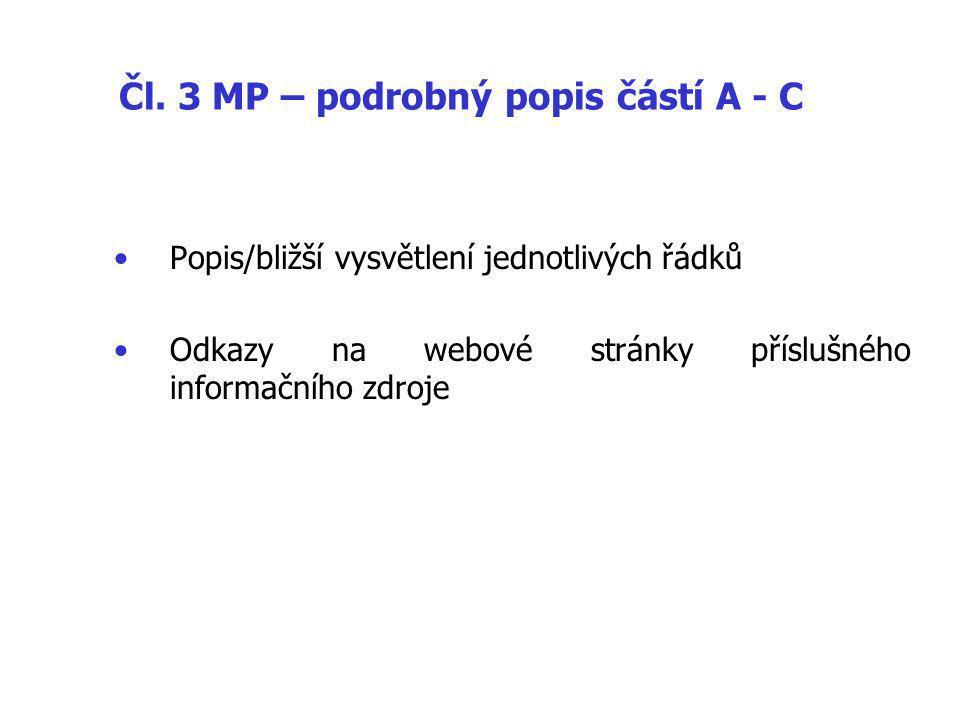 Čl. 3 MP – podrobný popis částí A - C Popis/bližší vysvětlení jednotlivých řádků Odkazy na webové stránky příslušného informačního zdroje
