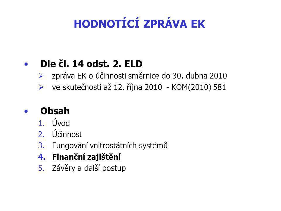 HODNOTÍCÍ ZPRÁVA EK Dle čl.14 odst. 2. ELD  zpráva EK o účinnosti směrnice do 30.