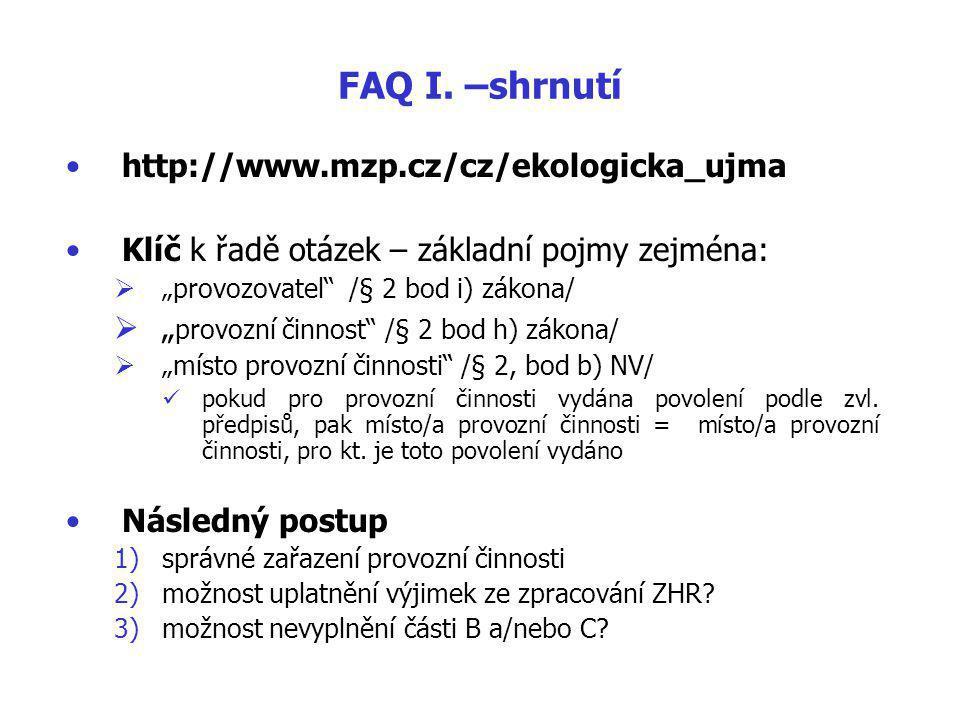 FAQ I.