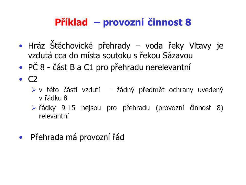 Příklad – provozní činnost 8 Hráz Štěchovické přehrady – voda řeky Vltavy je vzdutá cca do místa soutoku s řekou Sázavou PČ 8 - část B a C1 pro přehradu nerelevantní C2  v této části vzdutí - žádný předmět ochrany uvedený v řádku 8  řádky 9-15 nejsou pro přehradu (provozní činnost 8) relevantní Přehrada má provozní řád