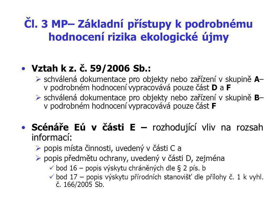 Čl.3 MP– Základní přístupy k podrobnému hodnocení rizika ekologické újmy Vztah k z.