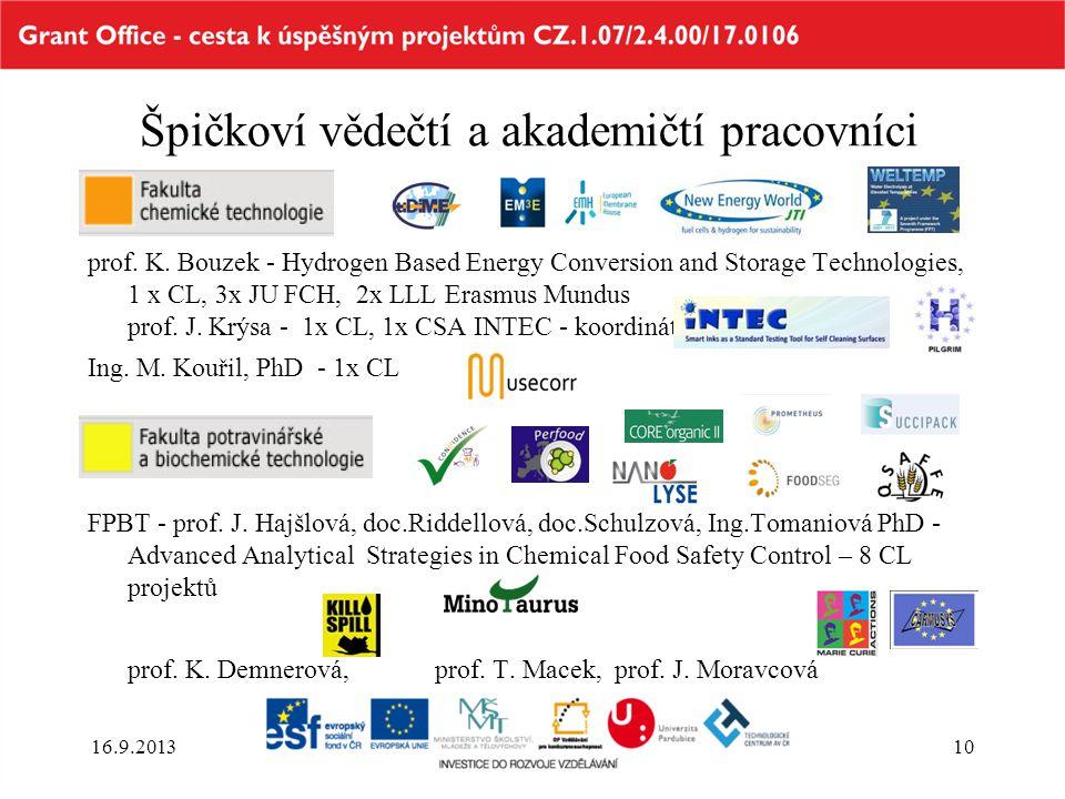 Špičkoví vědečtí a akademičtí pracovníci prof. K. Bouzek - Hydrogen Based Energy Conversion and Storage Technologies, 1 x CL, 3x JU FCH, 2x LLL Erasmu
