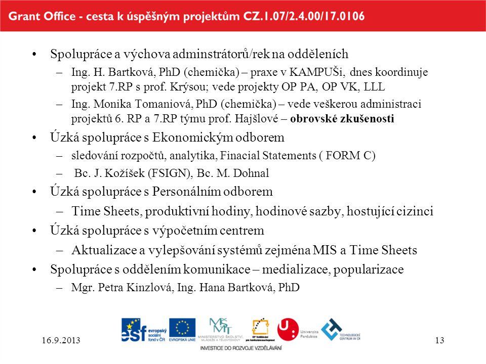 Spolupráce a výchova adminstrátorů/rek na odděleních –Ing. H. Bartková, PhD (chemička) – praxe v KAMPUŠi, dnes koordinuje projekt 7.RP s prof. Krýsou;