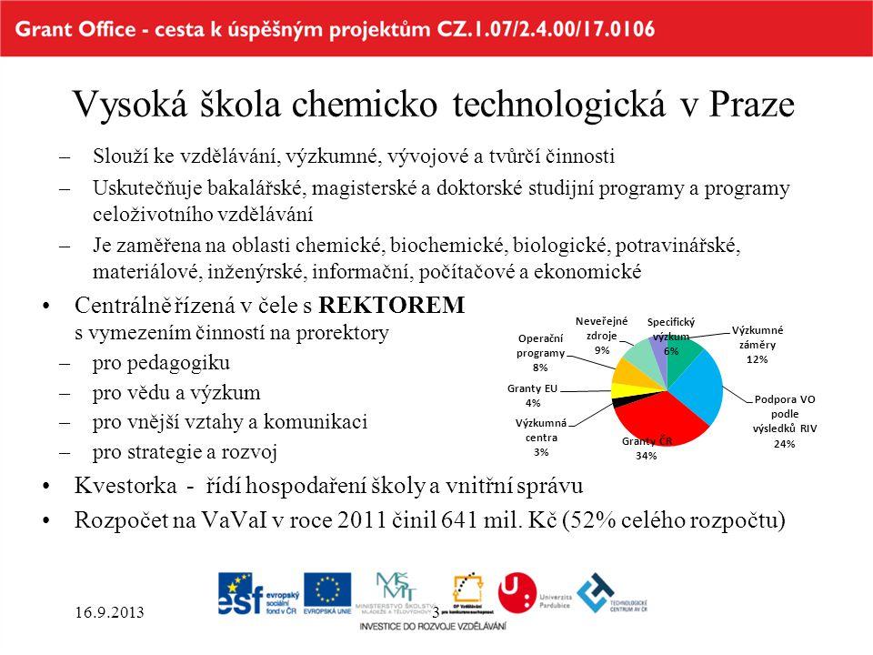 Vysoká škola chemicko technologická v Praze –Slouží ke vzdělávání, výzkumné, vývojové a tvůrčí činnosti –Uskutečňuje bakalářské, magisterské a doktors