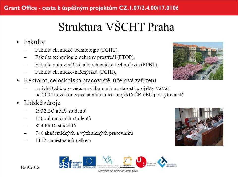 Struktura VŠCHT Praha Fakulty –Fakulta chemické technologie (FCHT), –Fakulta technologie ochrany prostředí (FTOP), –Fakulta potravinářské a biochemick
