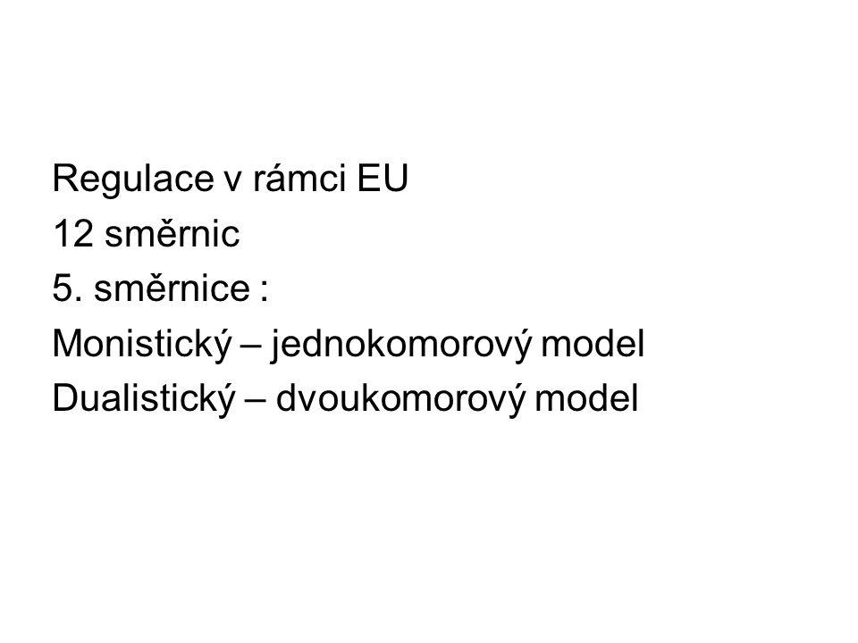Regulace v rámci EU 12 směrnic 5. směrnice : Monistický – jednokomorový model Dualistický – dvoukomorový model