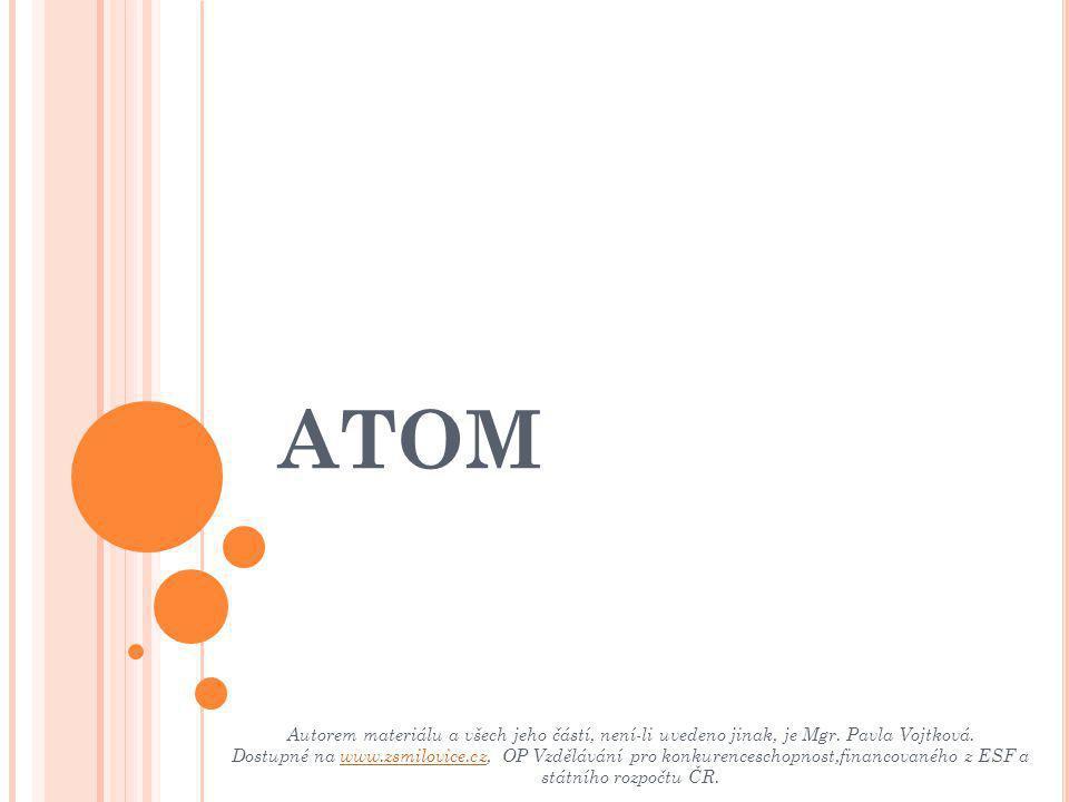 DEMOKRITOS - řecký filozof, který přibližně v roce 400 př.n.l., předpokládal, že atomy jsou neměnné a že jich je mnoho druhů.