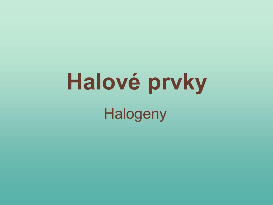 Atomy halogenů: Úkol 1: Doplň značky prvků (pracuj s periodickou tabulkou): 19 9 127 53 35 17 ClFBr 80 35 I Kontrola kliknutím na příslušné políčko: