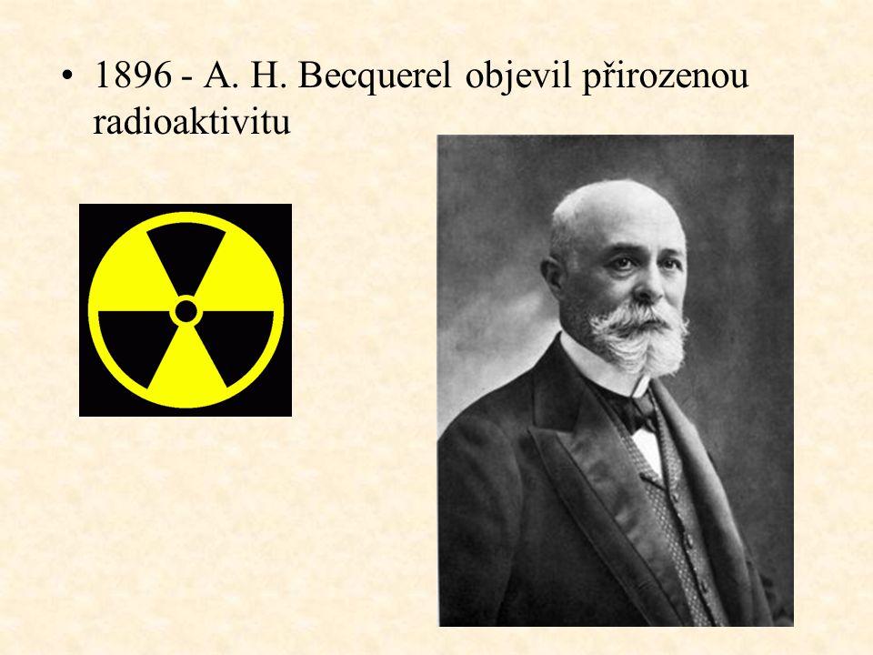 1896 - A. H. Becquerel objevil přirozenou radioaktivitu