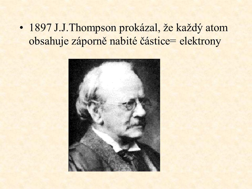1897 J.J.Thompson prokázal, že každý atom obsahuje záporně nabité částice= elektrony