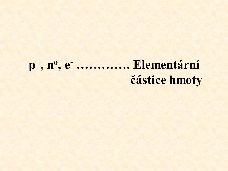 p +, n o, e - …………. Elementární částice hmoty