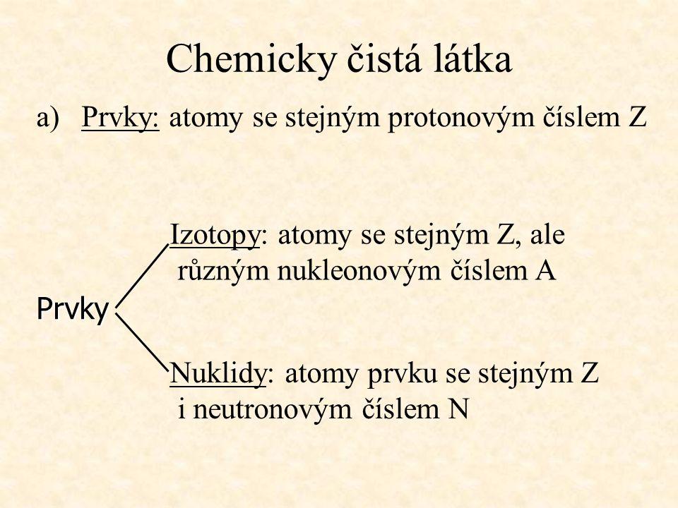 Chemicky čistá látka a)Prvky: atomy se stejným protonovým číslem Z Izotopy: atomy se stejným Z, ale různým nukleonovým číslem A Nuklidy: atomy prvku s