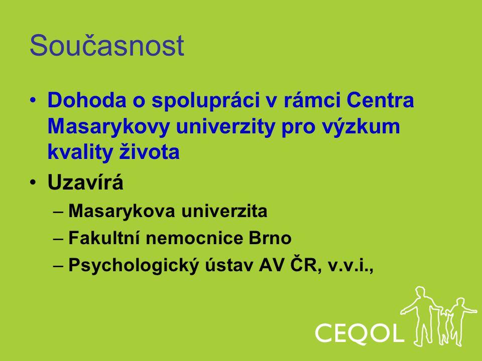 Současnost Dohoda o spolupráci v rámci Centra Masarykovy univerzity pro výzkum kvality života Uzavírá –Masarykova univerzita –Fakultní nemocnice Brno