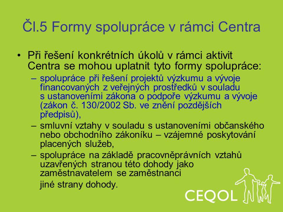 Čl.5 Formy spolupráce v rámci Centra Při řešení konkrétních úkolů v rámci aktivit Centra se mohou uplatnit tyto formy spolupráce: –spolupráce při řeše