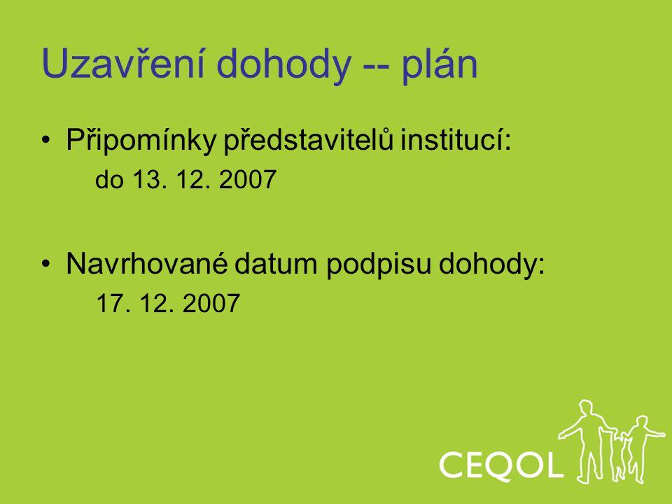 Uzavření dohody -- plán Připomínky představitelů institucí: do 13. 12. 2007 Navrhované datum podpisu dohody: 17. 12. 2007