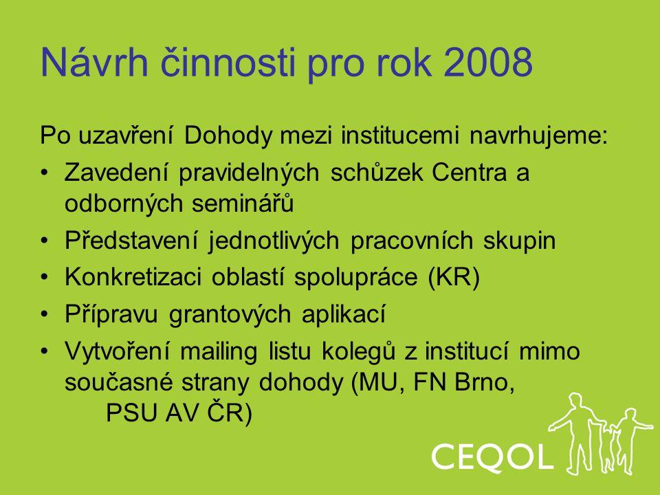 Návrh činnosti pro rok 2008 Po uzavření Dohody mezi institucemi navrhujeme: Zavedení pravidelných schůzek Centra a odborných seminářů Představení jedn