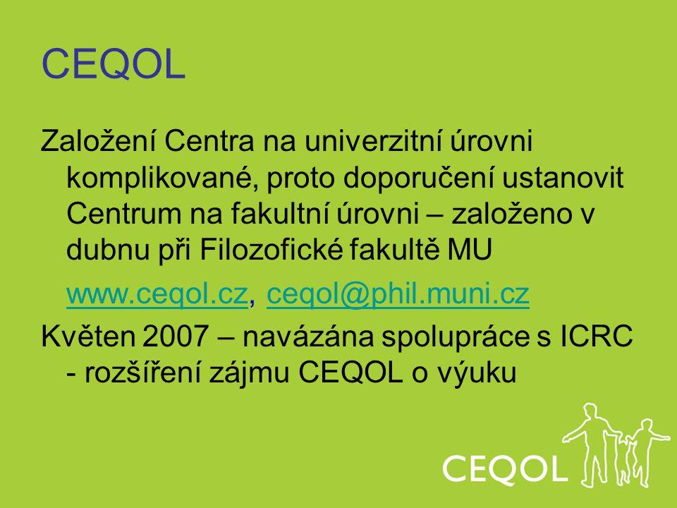 CEQOL Založení Centra na univerzitní úrovni komplikované, proto doporučení ustanovit Centrum na fakultní úrovni – založeno v dubnu při Filozofické fak